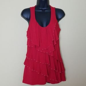 WHBM Red Bedazzled Tank Top